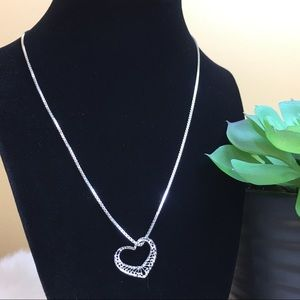 Vintage Jewelry - Vintage sterling silver filigree heart necklace